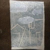 ヨルノクモ 2017年5月5日金 版画絵日記より 木版画
