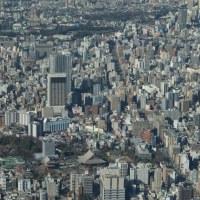 1月の東京スカイツリー:フロア450より北西~北方向(上野駅~南千住駅)