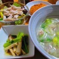 海老ワンタン、野菜スープ