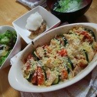 鶏ささみと夏野菜のオーブン焼き
