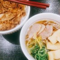 鴨そば+牛丼