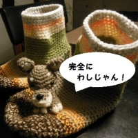 ワンコ色の余り毛糸ブーツ完成