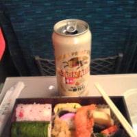 帰りの新幹線で、夕食。疲れた〜