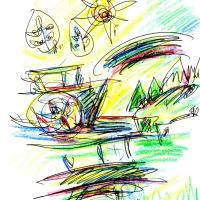 朝日記161119 多摩川沿いの想い出と今日の絵