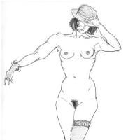 女性ヌードクロッキー
