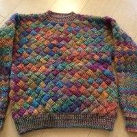 バスケット編みのセーター完成