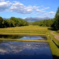 雲輝く八ヶ岳山麓田園風景を走り、コーヒーを配達する。