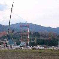 瀬田川にかかる新しい橋の工事が進んでいます
