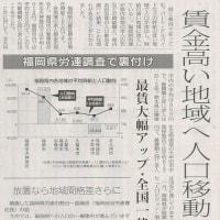 #akahata 賃金高い地域へ人口移動 福岡県労連調査で裏付け/最賃大幅アップ・全国一律制こそ・・・今日の赤旗記事