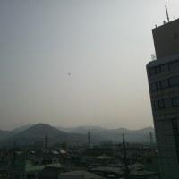 朝からヘリコプターが飛んで山火事の消火活動が続いています。写真