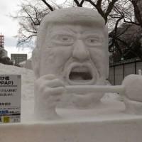 市民の雪像に傑作