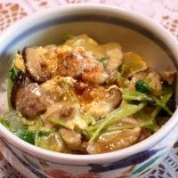 親子丼&ソーセージとキャベツのスープ煮