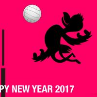 バレーボールの酉年年賀状イラスト