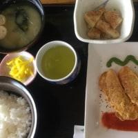 4月20日の日替り定食550円は 白身魚のピカタ、ニラとトマトの2色ソース です。
