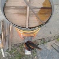 豆煮 自作ロケットストーブにて