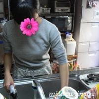 娘っこ、アジと紋甲イカを料理する
