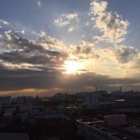 雲多くあるも夕日は見えました。