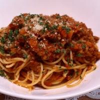 ミートソーススパゲッティ&白菜と豚肉のミルフィーユ鍋