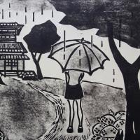 木版画 「紫陽花咲く季節のサヨナラ」