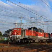 DD51貨物更新色重連がイナキヨを行く。