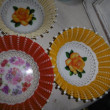 Vintage retro woven plastic dish tray basket x 3 floral pattern good condition