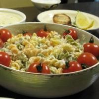 かじきのムニエル+豆乳スープ+クルクルマカロニのサラダ