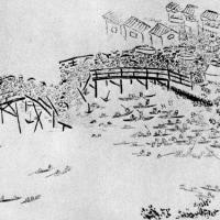 富岡八幡祭の人出で隅田川にかかる永代橋が崩落。