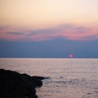 春の海岸通り 夕陽