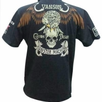 vanson バンソン ポロシャツ スカル イーグル NVPS-705 黒