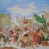 水彩模写「タンジールの狂信徒たち」