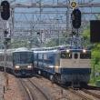 青列車と快速同時進入