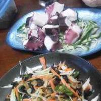 タコサラダと野菜炒め
