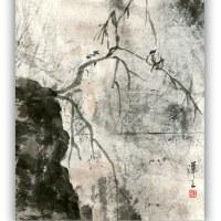 一日一書 1131 二羽の鳥・水墨画