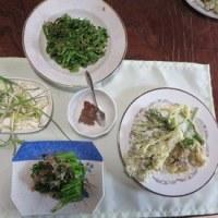 山菜の天ぷら&セリの胡麻和え&そうめんと三つ葉のお吸い物