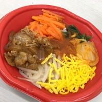 混ぜて食べる!旨辛ビビンバ丼と海苔のお味噌汁を頂きました。 at セブンイレブン 横浜クロスゲート店