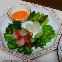 柳が色づき始めて、昨日もわが家は春野菜で男料理…