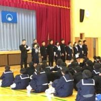 冬休み明け集会・表彰・生徒会役員引き継ぎ式を行いました。
