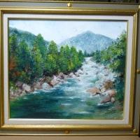 とよこの絵、渓谷の絵を完成しました。先日來より描いていた油絵絵です