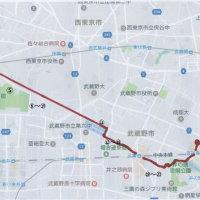 小平駅から吉祥寺駅まで、水道道路+玉川上水沿いを歩く。