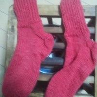 毛糸で靴下ができた