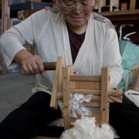 孕石さんの綿繰り作業が始まった