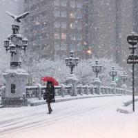 雪降りしきる街角 170115