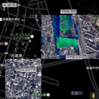 GoogleMapの広島が、塗りつぶされている