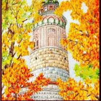 色鉛筆画316 (秋のチェスキークルムロフ)