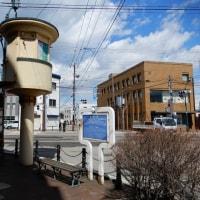 操車塔と路面電車-函館十字街