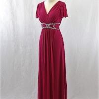 ロングドレス242 結婚式や演奏会で着る袖付きのロングドレス シルバービーズの飾りのエレガントなパーティードレス
