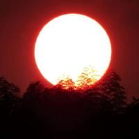 赤い朝 金沢市東部丘陵の夜明け