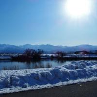 雪は一段落、今朝は空も晴れ上がって立山連峰晴れ晴れ・・・富山市水橋