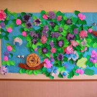 今年も見事なアジサイ壁飾りが完成です!