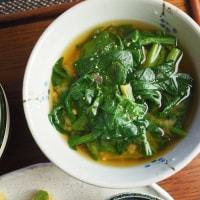 農家の一汁一菜 カブネギとエビのチヂミ たっぷりほうれん草のお味噌汁